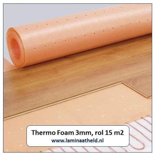 Thermo Foam ondervloer 3 mm (rol 15 m2) met macroperforatie voor een minimale warmtedoorlaatweerstand