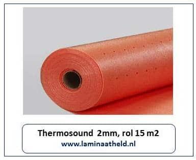 Thermosound 3 mm (rol 15 meter). Ideaal bij vloerverwarming. Ook toegestaan in appartementen en bovenwoningen i.c.m. laminaat vloeren. Nu per rol € 47