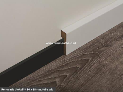 Blokplint 80 x 18 mm renovatie, folie wit lengte 240 cm