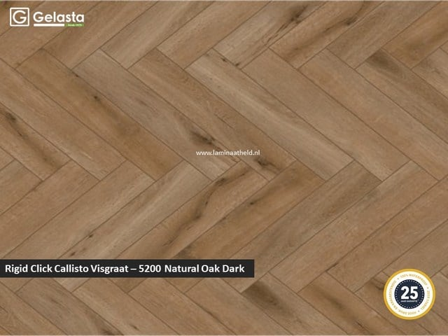 Gelasta Rigid Click Callisto visgraat - 5200 Natural Oak Dark