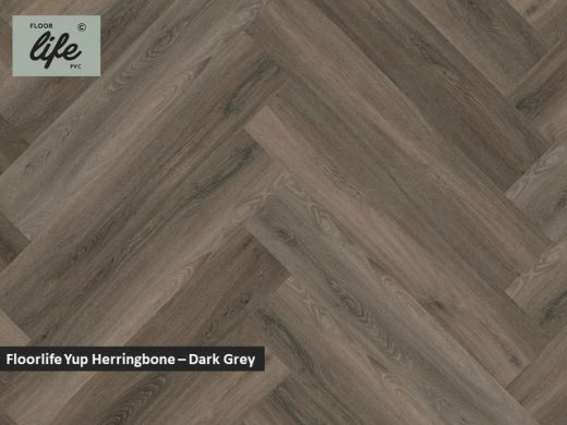 Floorlife Yup Herringbone click SRC pvc - Dark Grey