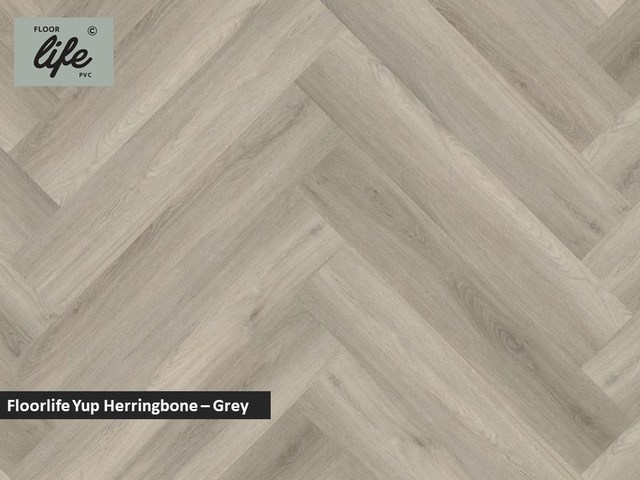 Floorlife Yup Herringbone click SRC pvc - Grey