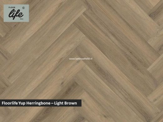 Floorlife Yup Herringbone click SRC pvc - Light Brown