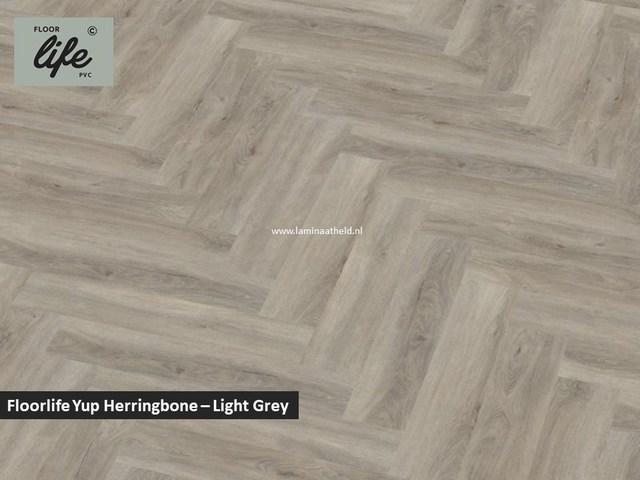 Floorlife Yup Herringbone click SRC pvc - Light Grey