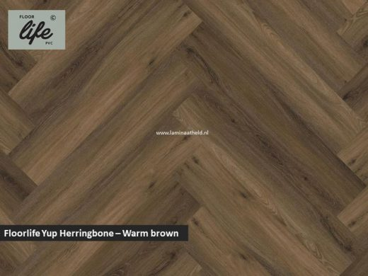 Floorlife Yup Herringbone click SRC pvc - Warm Brown